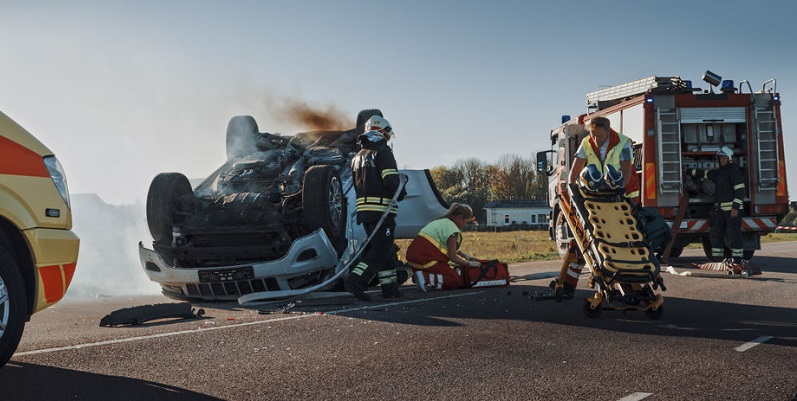 First Responders Attending to Auto Accident